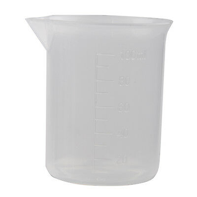 Clear White Plastic 100mL Measuring Cup Beaker for Lab Kitchen BT