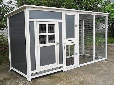 "78"" Wood & Plastic Hen Chicken Duck poultry Run House Coop Cage Nesting boxe"