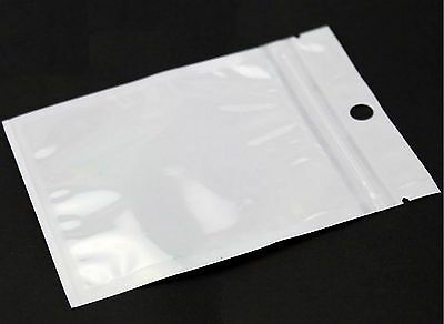 100 Pcs CLEAR & White Reclosable Poly Re-selfsealable Zipper Bag 3.5'' x 4.7''