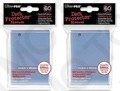 120 2pk ULTRA-PRO Small Mini Size YuGiOh Card Sleeve Deck Protector 82962 Clear
