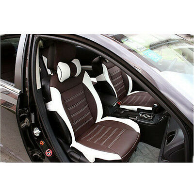 Front + Rear 5 Seat Cushion Covers PU Leather Full Set For all car Brown + White