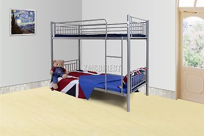 FoxHunter 3FT Single Metal Frame Bunk Bed Children Kid Twin Sleeper Silver MBB03