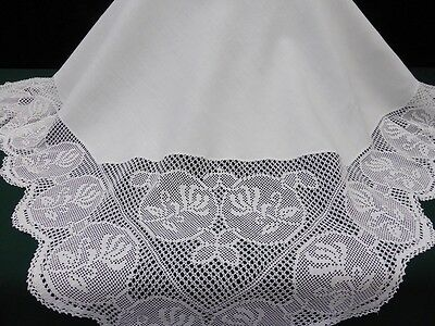 Antique Irish Linen Tablecloth-Deep Hand Crochet Honeysuckle-53""