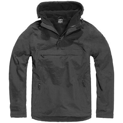 Brandit Classic Tactical Windbreaker Hooded Combat Anorak Warm Mens Jacket Black