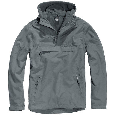 Brandit Classic Tactical Windbreaker Hooded Anorak Mens Jacket Anthracite Grey