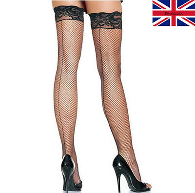 DELUXE Pack of Black Lace Seamed Fishnet Hold Ups Stockings Fencenet Silicone UK