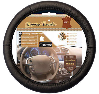 Sumex Car+ Soft Black Real Leather Car Steering Wheel Cover - Small Size 35-36cm