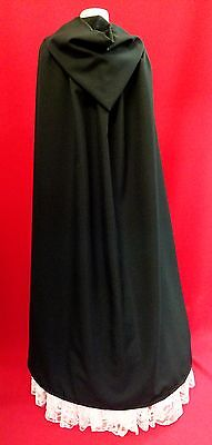 LONG (130cm) BLACK HOODED UNISEX CAPE CLOAK SCARY HALLOWEEN GOTH PAGAN WITCH