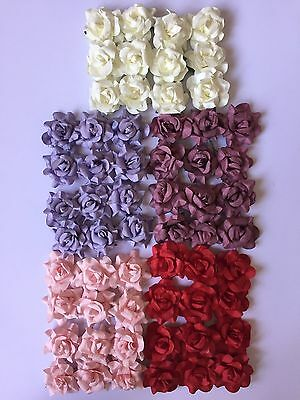 12 Large Paper Roses/flowers-Wire Stems-Wedding/craft/red/lilac/pink/cream-4Cm