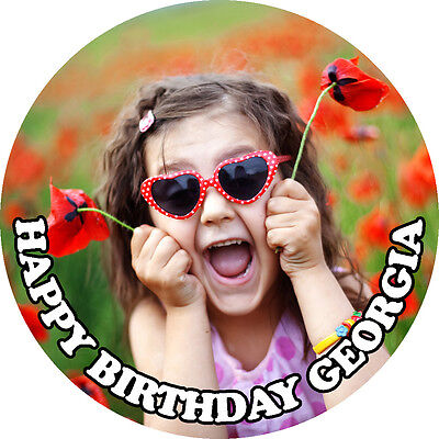 """YOUR OWN PERSONALISED IMAGE PHOTO 7.5"""" CIRCLE Edible Wafer Icing Cake Topper"""
