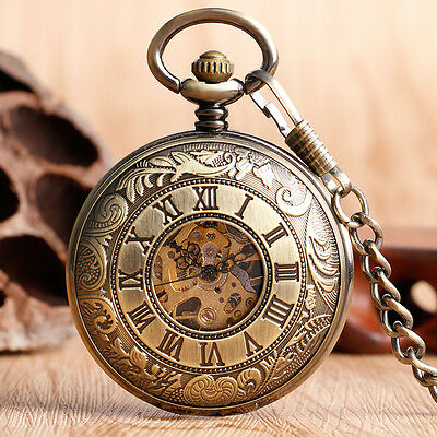 Bronze Double Hunter Carving Roman Numbers Mechanical Hand Winding Pocket Watch