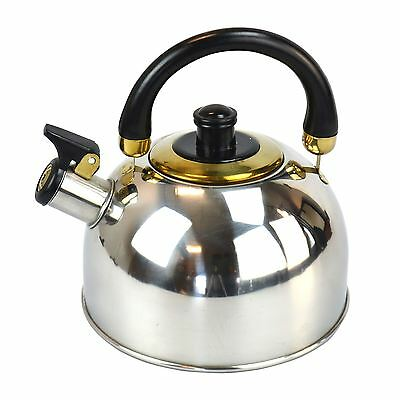 New 2.5 Liter S/Steel Whistling Kettle Chrome kitchen/Home Tea Camping Gas Hob