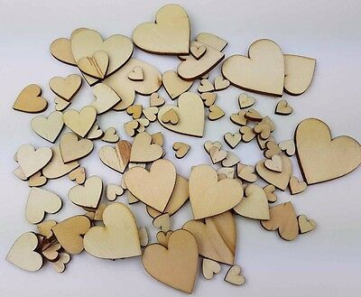 100 Mixed Size Wooden Love Hearts 10mm-40mm Wedding Table Scatter Craft