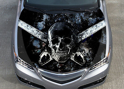 Horror Skull Car Bonnet Wrap Color Vinyl Sticker Decal Fit Any Car