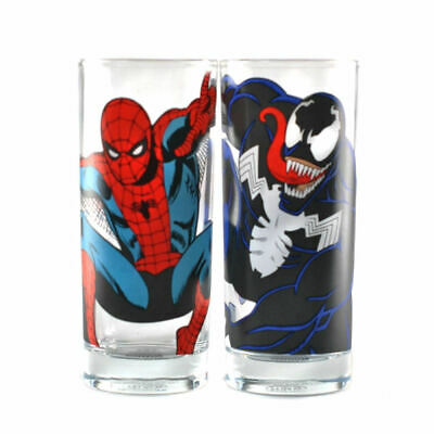 OFFICIAL MARVEL COMICS SPIDERMAN BLACK MASK DRINKING GLASS TUMBLER NEW GIFT BOX