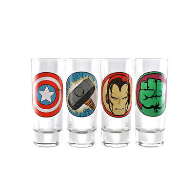 Marvel Avengers 4 Pack Shot Glasses Captain America Hulk Thor Iron Man Shooter