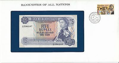 Franklin Mint Banknotes of All Nations Mauritius 5 rupees (1967) B401 P-30   UNC