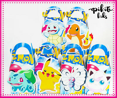 12X Pokemon Party Favour Boxes Themed Kids Birthday Bags Supplies Decorations