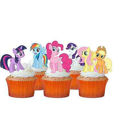 24 x MY LITTLE PONY STAND UP Edible Wafer Cupcake Cake Toppers * PRE CUT *
