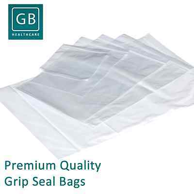 100 X Grip Seal Bags Self Resealable Poly Plastic Clear Zip Lock Bags All Sizes