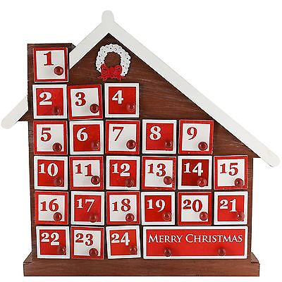 8 LED Wooden Christmas Workshop Advent Calendar Empty Cupboard 25 Day Design