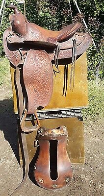 Vintage lot of 2 Tooled Leather Saddle Western Cowboy Riding Horse Equestrian
