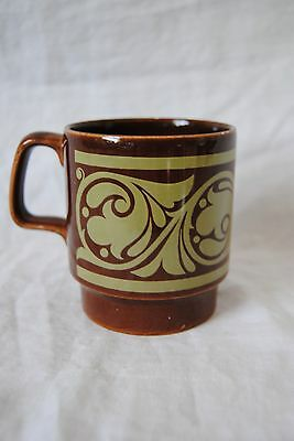Vintage Royal Alma Ironstone Stackable Mug/Cup Brown with Green