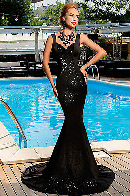New Black sequin backless bow Mermaid cocktail evening Gown Size 10-12-14