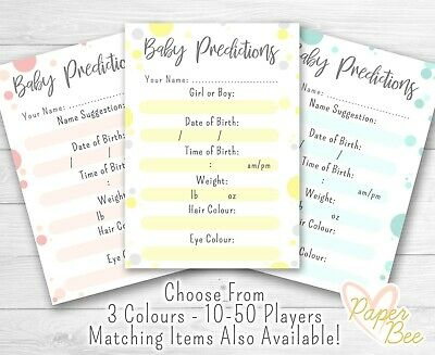 Personalised Baby Shower Guessing Game Prediction Cards Boy Girl Unisex Keepsake