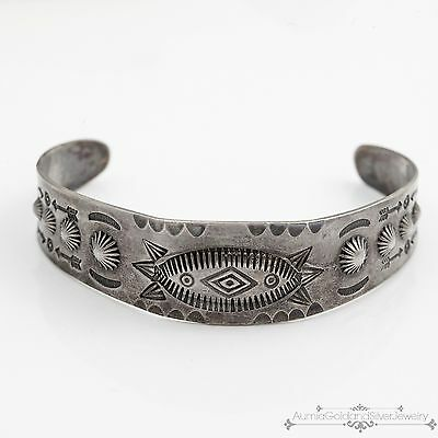 Antique Vintage Navajo Native Pawn Sterling Silver Hand Punched Cuff Bracelet!
