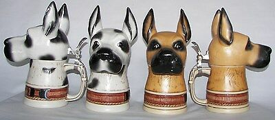 Great Dane dog character beer stein, pick Harlequin or Fawn color