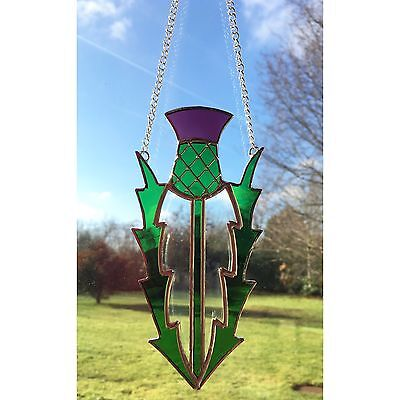 Handmade Stained Glass Scottish Thistle Suncatcher Decoration Glass Gift
