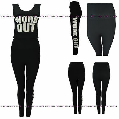 Womens Ladies Work Out Gym Two Piece Top Bottom Legging Co Ordinate Suit Set