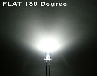 100 x 5mm White Ultra Bright LED Light Diode Flat Top 20000 MCD Wide Angle