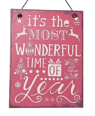 Mini. Most Wonderful Time Of The Year Metal christmas Sign Red. Shabby chic