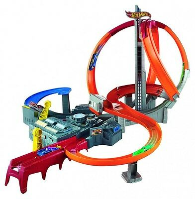 HOT WHEELS HW RACE SPIN STORM Boosted TRACK Set and Two Launchers Rally car game