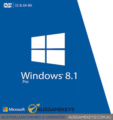 Genuine Windows 8.1 PRO 32/64 Bit Full Version 1 PC with Disk & Key