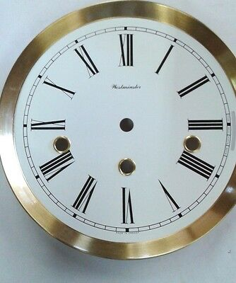 Hermle-Westminster clock dial  180 mm for 1050-351 movement  satin brass bezel