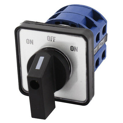 AC660V 25A 2-Pole 3-Position Momentary Plastic Rotary Changeover Switch Blue F6
