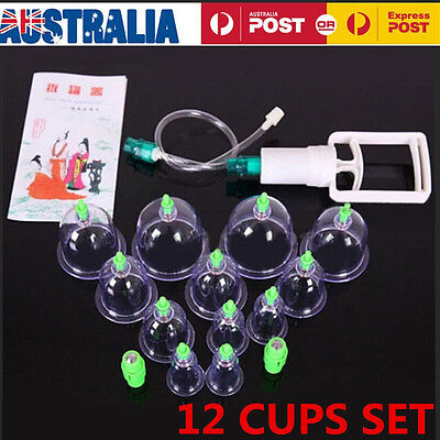 12Cups Chinese Cupping Set  For Slimming Vacuum Massage & Acupuncture Therapy