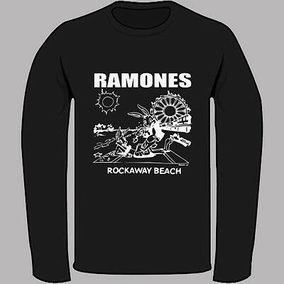 82ae781e THE RAMONES Rockaway Beach Punk Rock Band Black Long Sleeve T-Shirt Size S-