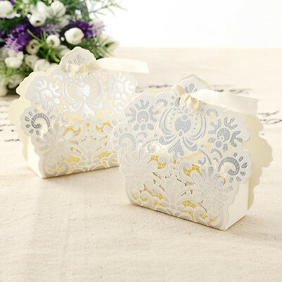 50/100PCS Luxury Wedding Favour Favor Sweet Cake Gift Candy Boxes Table Deco