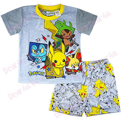 new Boys POKEMON go Pikachu summer pjs pyjamas kids clothing size 3-10 in AU