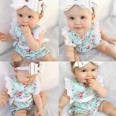 Cute Newborn Baby Girl Bodysuit Lace Floral Romper Jumpsuit Summer Outfits 0-4Y