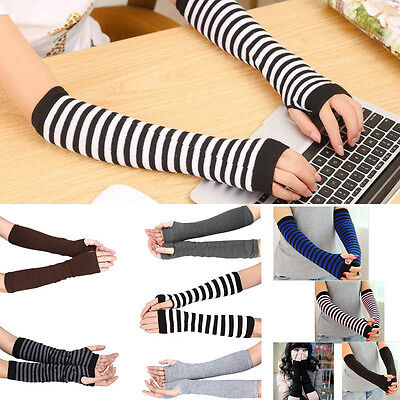 Lady Stretchy Soft Striped Wrist Arm Warmer Long Sleeve Fingerless Gloves
