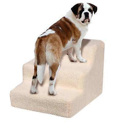 Dog Cat Pet Step Puppy Doggy 3 Steps Stairs Ladder Ramp + Washable Cover Used