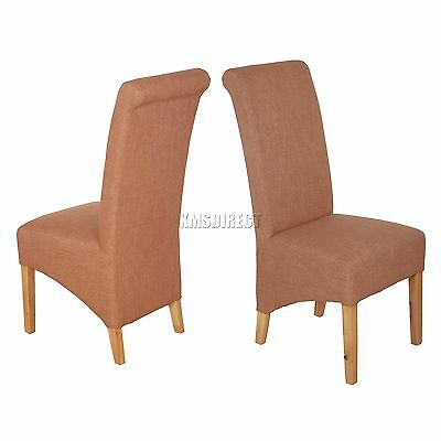 FoxHunter Brown Linen Fabric Dining Chairs Scroll High Back Springed Seat New X2