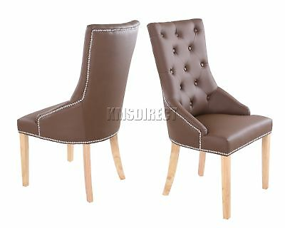 FoxHunter PU Dining Chair Scoop Back With Chrome Studs Office Seat PU02 Brown x2