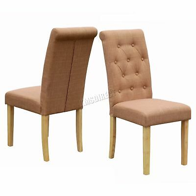 FoxHunter Brown Linen Fabric Dining Chairs Scroll High Back Office Room DCF02 x2