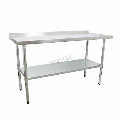 FoxHunter Stainless Steel Catering Table Backsplash Work Bench Kitchen 2FT X 5FT